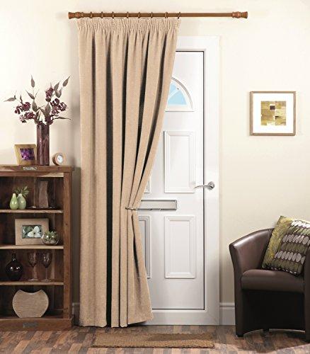 Dreams U0027Nu0027 Drapes Chenille Spot Thermal Pencil Pleat Coated Door Curtain,  Cream, 66 X 84 Inch