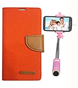 Aart Fancy Wallet Dairy Jeans Flip Case Cover for HTC826 (Orange) + Mini Fashionable Selfie Stick Compatible for all Mobiles Phones By Aart Store