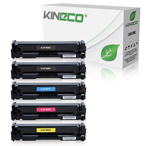 Kineco 5 Toner kompatibel zu HP CF400X CF401X CF402X CF403X Laserjet Pro MFP M277dw, M277n, M274n, Laserjet Pro M252dw, M250 Series - 201X - Schwarz je 2.800 Seiten, Color je 2.300 Seiten
