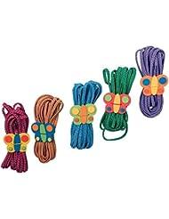 Gummitwist Schmetterlinge im 5er Set, fördert Geschicklichkeit und Fitness, ein Dauerklassiker für stundenlangen Spielspaß