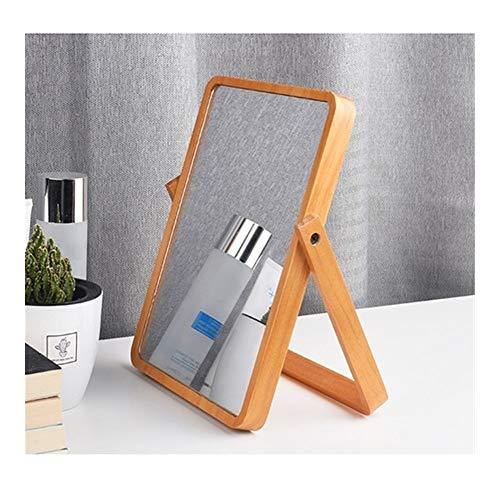NL Espejo De Maquillaje Espejo De Baño, Mesa Plegable Espejo - HD Sólido De Madera del Espejo Producto...
