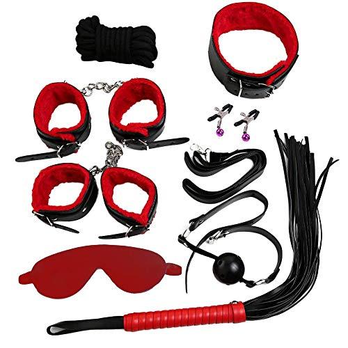 friendGG 8 Stücke BDSM Bondage Set Kit Kragen Peitsche Knebel Manschetten Seil Zurückhaltung Erwachsenes Spielzeug (Red)