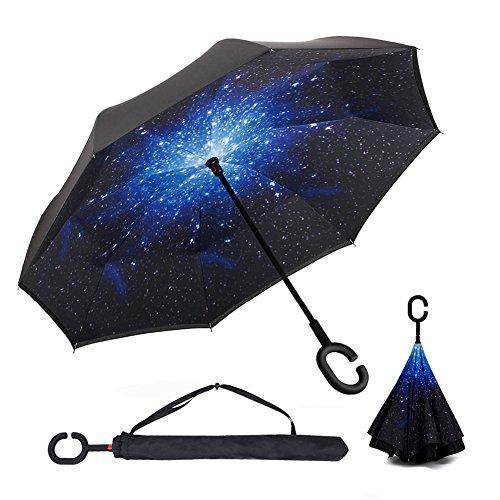 Qiucdz Parapluie Inversé,Parapluie Canne Double Couche, Coupe du Vent Mains Libres, Mains Libres poignée en forme C,Idéal pour Voiture et Voyage,Préve...