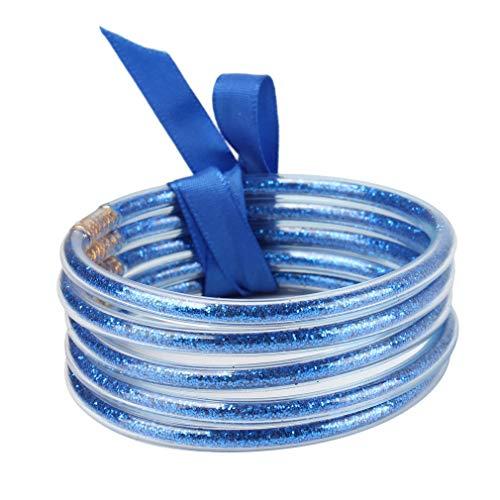 SHIJIAN Jelly Bracelets Silikon Multicolor Layer Bowtie Leichte süße Glitzer gefüllte Stapel Silikon Party Bracelets,Blau