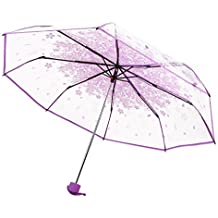 LAAT Paraguas Romantic Cherry Rain Paraguas transparente a prueba de viento Paraguas para damas y niñas