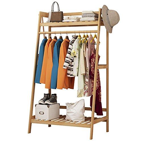 FEIFEI Type de plancher 3 en 1 porte-manteau Multi-function de ménage Assemblée Bamboo Hanger Rack Storage Rack Range-chaussures, 3 tailles (taille : 100 * 40 * 140cm)