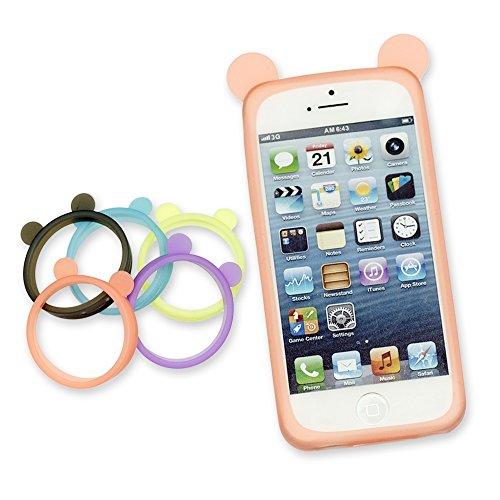 OBiDi - Bear Style Ring Silicone Bumper Case / Housse pour Apple iPhone SE / Apple iPhone 5S / 5 - Pourpre Orange