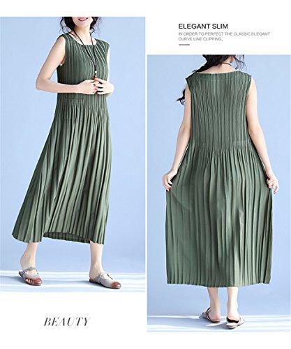 Womens Elegantes Retro- chinesisches Art-Mannschaft-Ansatz-Sleeveless Behälter-Kleid-beiläufiges gefaltetes Kleid Grün