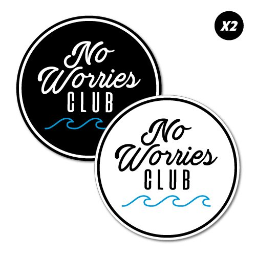 No Worries Club Stickers Decal Surfboard Vintage Skate Surf -