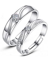 Moneekar Jewels Mens Womens Silver Plated Adjustable Ring AAA Quality Cubic Zirconia Wedding Ring Promise Ring...
