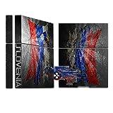 Zerrissen Flagge Slowenien, Designfolie Sticker Skin Aufkleber Schutzfolie mit Farbenfrohem Design für Playstation 4 CUH 1000 1100