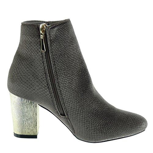 Angkorly - damen Schuhe Stiefeletten - Biker - Reitstiefel - Kavalier - Schlangenhaut - golden Blockabsatz high heel 7.5 CM Braun