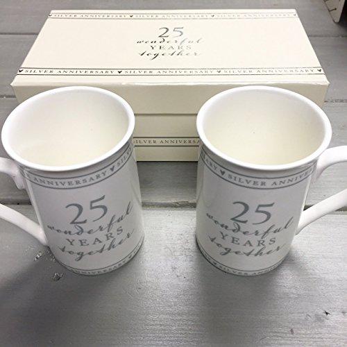 (Amore 25. Silber Hochzeit Jahrestag Geschenk Paar Sentiment Tassen, in Geschenkverpackung)