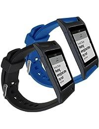 kwmobile 2en1: 2x Bracelet de remplacement pour le sport pour Pebble 2 Plus Heart Rate / Time en noir bleu foncé - Bracelet en silicone avec fermoir de montre sans tracker