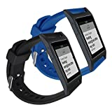kwmobile 2en1: 2x Correa de repuesto para Pebble 2 Plus Heart Rate / Time en negro azul oscuro Dimensiones interiores: approx. 15 - 20,5 cm - banda de silicona sin Fitness Tracker