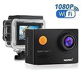 APEMAN WiFi Action Cam Sport Impermeabile Full HD 1080P 14MP 170° Grandangolare 2.0 Pollici 2x1050mAh Batterie e Kit Accessori con Pacchetto Portatile (Nero)