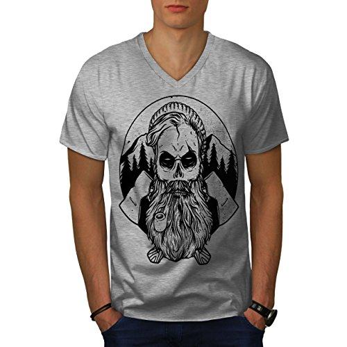 wellcoda Hipster Bauholz AXT Schädel Männer XL V-Ausschnitt T-Shirt