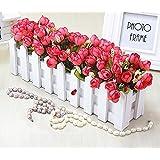 Lx.AZ.Kx Flores y Plantas artificiales con valla de madera macetas de flores de emulación ornamentos Kit Salón decoraciones florales,Colores de otoño Rosa Roja Mui
