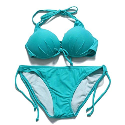 PRIDE S Mode Badeanzug Stahl Pflege sammeln zusammen Solid Color Split Bikini Spa Badeanzug Beach Bademode Grün