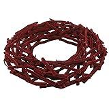 Dekokranz FLOCKED - Bordeaux Rot - Türkranz - Chinaholz - Mooskranz - Holzkranz beflockt (38 cm)