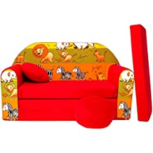 WELOX D2l KindersofaBettfunktion3in1-Kindersessel,Ausziehbett,rotLöwe/Zebra/Elefant, Eierschalenfarbe