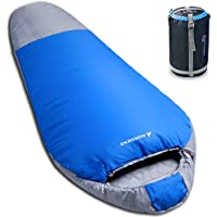 Norsens 3 Season Mummy Sleeping Bag for Camping Backpacking Hiking, Ultralight Lightweight Compact Sleeping Bag Sack with Compression Bag for Adults in Blue