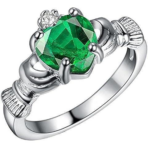 Bling fashion placcato argento 925sei nel mio cuore anello con pietra a forma di cuore, colore