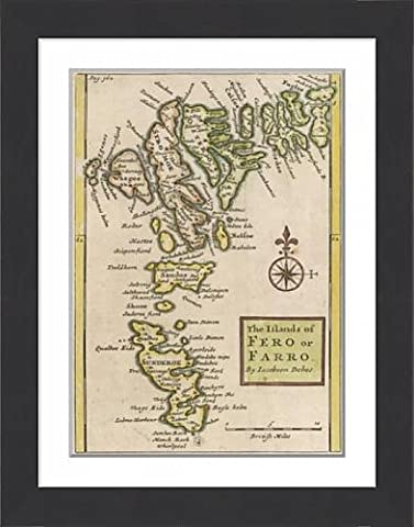Framed Print Of Map/europe/faeroe Island