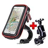 ICOOM Support Téléphone Moto Universel Réglable Double Fixation Guidon Scooter, Vélo, Bicyclette, Cyclisme avec Étui Étanche pour GPS, Smartphone Iphone, Samsung (L, Rouge)