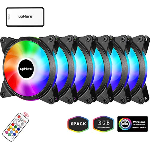 Acutty RGB PC Fan 12V 6 Pin 12cm Cooling Cooler Fan with Controller for Computer Silent Gaming Case