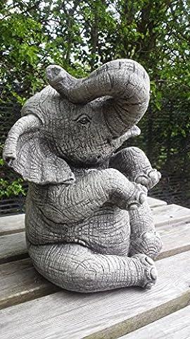 LARGE ELEPHANT (TRUNK UP) - HAND CAST STONE GARDEN ORNAMENT