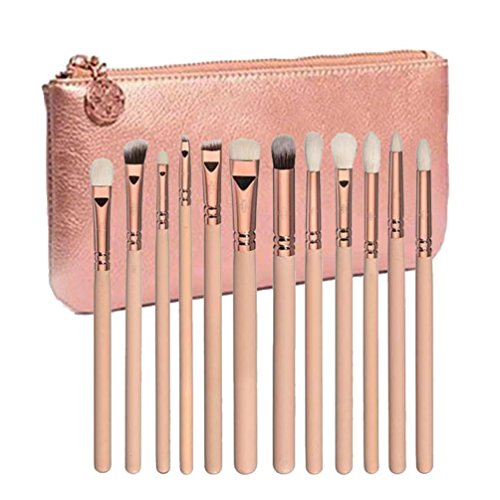 Honestyi 12 pcs Rose Or Maquillage Brosse Complète Oeil Ensemble Outils (Or rose)