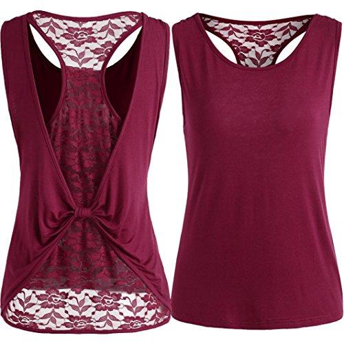 OSYARD Damen Solide ärmellose Tops Lace Knot Design Bluse T-Shirt Tank Tops(EU 38/M, Wein)