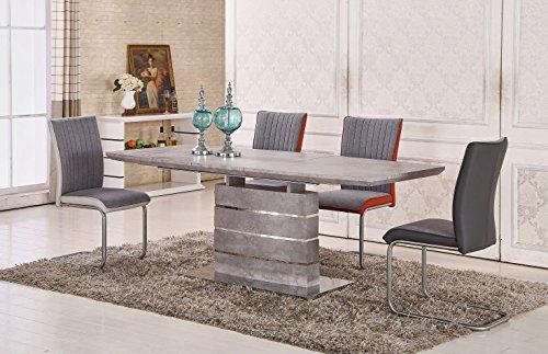 Esstisch ausziehbar Daures 01 (eckig), Farbe: Zement - Abmessungen: 76 x 160 - 200 x 90 cm (H x B x T)