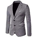 Charm Herren Casual Slim Fit Zwei Anzug Tasten Modernas Lässig Blazer Kariert Mantel Gitter Jacke Anzugjacken Smoking Blazer Tops (Color : Grau, Size : M)