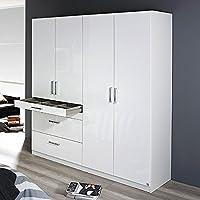 Preisvergleich für Kleiderschrank 4 Türen B 181 cm Hochglanz weiß Schrank Drehtürenschrank Wäscheschrank Kinderzimmer Jugendzimmer Schlafzimmer