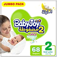 BabyJoy Compressed Diamond Pad, Size 2, Small, 3.5-7 kg, Jumbo Pack, 68 Diapers