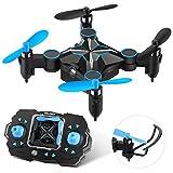 Mini Faltbare Drohne RC Quadrocopter für Kinder and Anfänger, Pocket Drohne 9-10 Minuten Flugzeit(Höhenretention, 4 Kanäle 6-Achsen-Gyro, Headless-Modus, One-Key-Rückkehr, 3D-Flips)