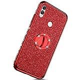 Herbests Kompatibel mit Huawei Honor 8X Max Glänzend Diamant Kristall Strass Glitzer TPU Handyhülle Handytasche Luxus Überzug Silikon Schutzhülle TPU Bumper Case mit Handy Fingerhalterung,Rot