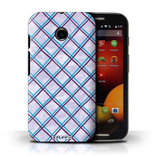 Kobalt® Imprimé Etui / Coque pour Motorola Moto E (2014) / Jaune conception / Série Motif Entrecroisé Bleu/Violet