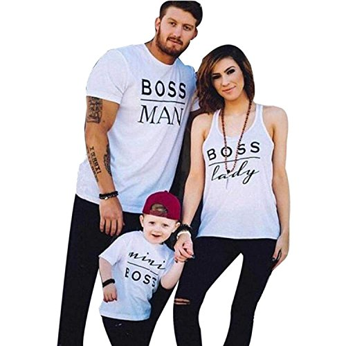 Familien Outfit Mutter Vater Kind Baumwolle Kurzarm T-Shirts Kleidung Sohn Tochter und Baby Freizeit Familien Matching Weiß (Papa, XL)