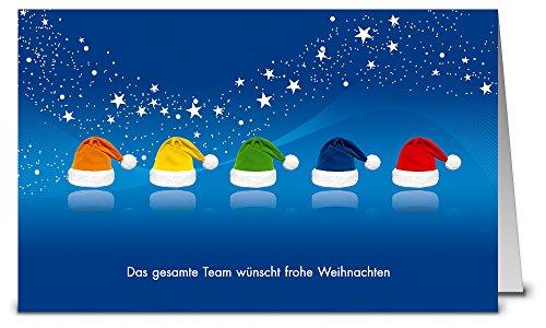 Weihnachtskarten Team blau WK16192, 50 Klappkarten im Set mit Umschlag