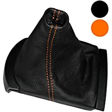 AERZETIX: Funda para palanca de cambios 100 % Piel Genuina negro Costuras de color naranja