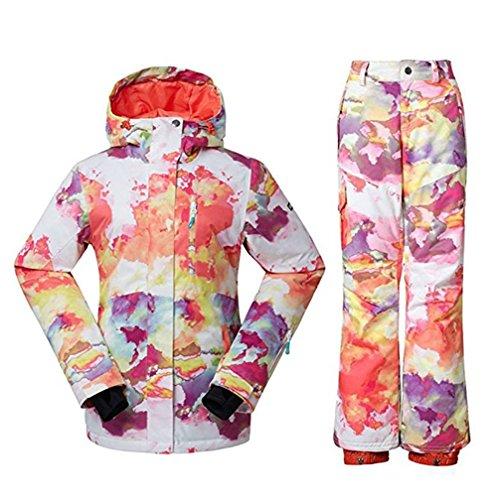 Wonny 2 Teilig Skianzug Wasserdicht Schneeanzug Jacke und Hosen Unisex Skiset Wolken-Design S