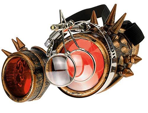 MFAZ Morefaz Ltd Welding Cyber Goggles Schutzbrille Schweißen Sonnenbrille Steampunk Goth Round Cosplay Brille Party Fancy Dress (Gold Spikes Loupe)
