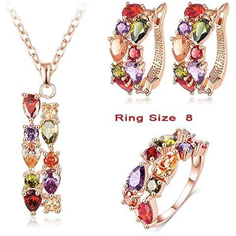 Nusey (TM) di lusso in oro rosa placcato multicolore dei monili di cerimonia zircone orecchini / collana / anello donne Cubic regali stabiliti CST0030-A