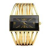 Jsdde orologio analogico braccialetto da donna con rettangolo fronte dorato-Black Face