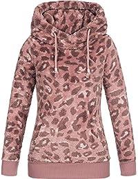 e160c26f3cb0 Sublevel Damen Teddy-Fleece Hoodie Kapuzenpullover LSL-356 Leopard-Print