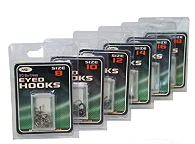 Barbless eyed coarse fishing hooks size 8,10,12,14,16,18 (16) by NGT
