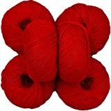 Vardhman Acrylic Knitting Wool, Pack of 6 (Deep Red) (Pack of 6)